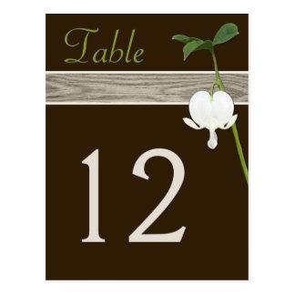 Brown, Green, Ivory Bleeding Heart Table Number Postcard