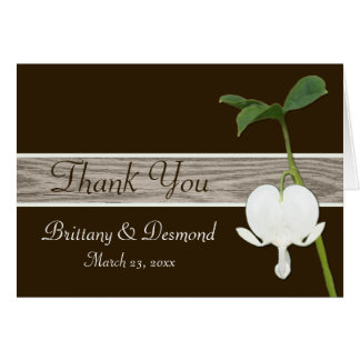 Brown Green Ivory Bleeding Heart Thank You Card Greeting Cards