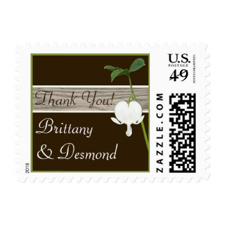 Brown Green Ivory Bleeding Heart Thank You Postage