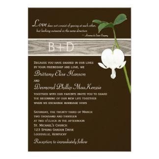 Brown Green Ivory Bleeding Heart Wedding Invite