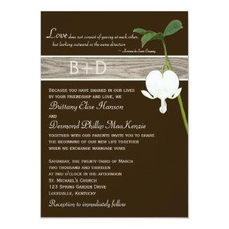 "Brown Green Ivory Bleeding Heart Wedding Invite 5"" X 7"" Invitation Card"