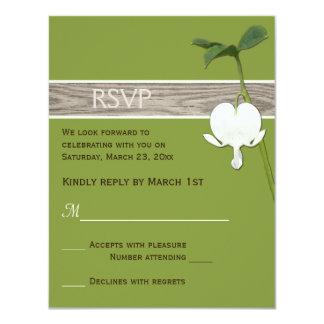"Brown Green Ivory Bleeding Heart Wedding RSVP 4.25"" X 5.5"" Invitation Card"