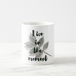Brown Green Leaves Live in the moment Coffee Mug