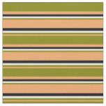 [ Thumbnail: Brown, Green, Light Cyan & Black Colored Pattern Fabric ]