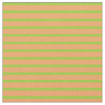 [ Thumbnail: Brown & Green Lined Pattern Fabric ]