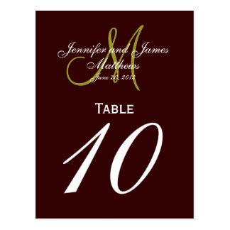 Brown Green Monogram Wedding Table Number Cards