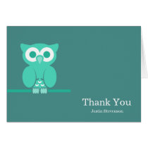 Brown Green Owl Thank You Card