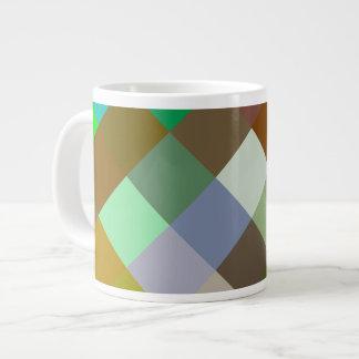 Brown Green Patterns Geometric Designs Color Large Coffee Mug