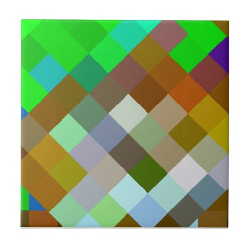 Brown Green Patterns Geometric Designs Color Tile