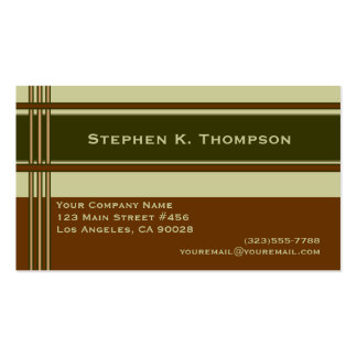 Brown Green Professional Stripes Block Business Card