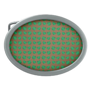 Brown green shamrocks and hearts oval belt buckle