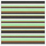 [ Thumbnail: Brown, Green, White, and Black Pattern of Stripes Fabric ]