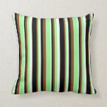 [ Thumbnail: Brown, Green, White, and Black Pattern of Stripes Throw Pillow ]