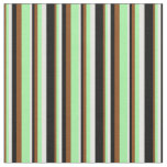 [ Thumbnail: Brown, Green, White & Black Pattern of Stripes Fabric ]