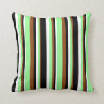 [ Thumbnail: Brown, Green, White & Black Pattern of Stripes Throw Pillow ]
