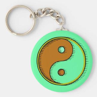 Brown Green Windblown Yin Yang Keychain