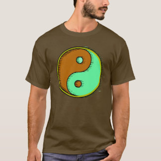 Brown Green Windblown Yin Yang T-Shirt