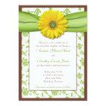 "Brown, Green, Yellow Damask Wedding Invitation 5"" X 7"" Invitation Card"