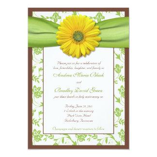 Brown, Green, Yellow Damask Wedding Invitation