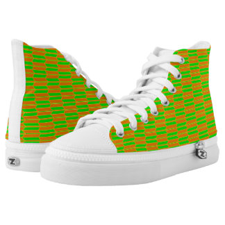Brown Green Yellow Geometric Pattern High-Top Sneakers
