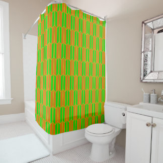 Brown Green Yellow Geometric Pattern Shower Curtain