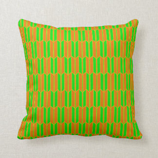 Brown Green Yellow Geometric Pattern Throw Pillow