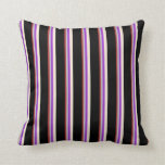 [ Thumbnail: Brown, Grey, Dark Orchid, Beige & Black Pattern Throw Pillow ]