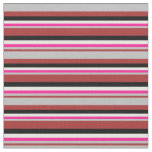 [ Thumbnail: Brown, Grey, Deep Pink, White & Black Lines Fabric ]
