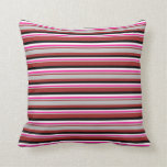 [ Thumbnail: Brown, Grey, Deep Pink, White & Black Lines Pillow ]