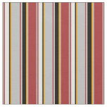 [ Thumbnail: Brown, Grey, Orange, Black, and Light Cyan Lines Fabric ]