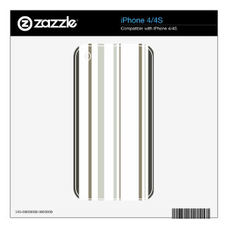 Brown & Grey Striped iPhone 4 Cover Decals For iPhone 4
