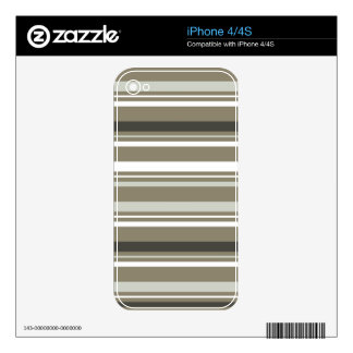 Brown & Grey Striped iPhone 4 Cover Skin For iPhone 4S