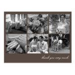 Brown grid collage 6 photos memories thank you postcard