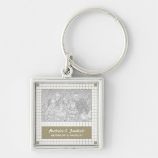 Brown Grid Photo Silver-Colored Square Keychain