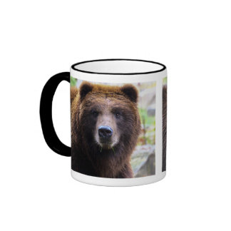 Brown Grizzly Bear Ringer Coffee Mug
