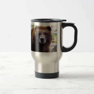 Brown Grizzly Bear 15 Oz Stainless Steel Travel Mug