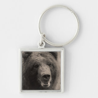 Brown Grizzly Bear Portrait Silver-Colored Square Keychain