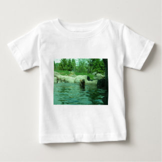 Brown Grizzly Bear swimming in a Pond by Trees Baby T-Shirt