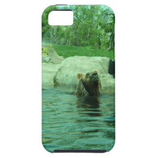 Brown Grizzly Bear swimming in a Pond by Trees iPhone 5 Cover