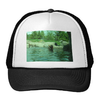 Brown Grizzly Bear swimming in a Pond by Trees Trucker Hats