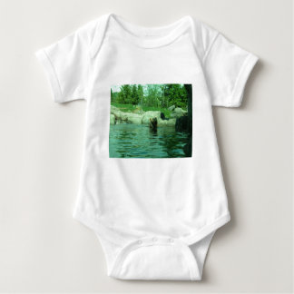 Brown Grizzly Bear swimming in a Pond by Trees T Shirt
