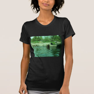 Brown Grizzly Bear swimming in a Pond by Trees Tee Shirts