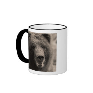 Brown Grizzly Bear Wildlife Photo Ringer Coffee Mug