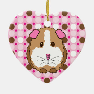 Brown Guinea Pig Double-Sided Heart Ceramic Christmas Ornament