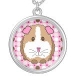 Brown Guinea Pig Round Pendant Necklace