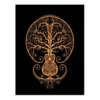Brown Guitar Tree of Life on Black Post Cards