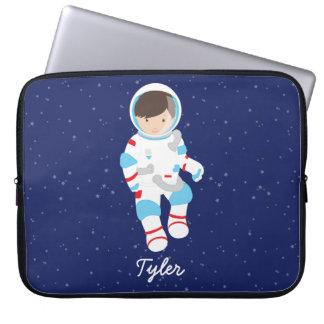 Brown Hair Astronaut in Space Laptop Sleeve