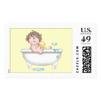 Brown Hair Baby Bath Time Postage Stamp