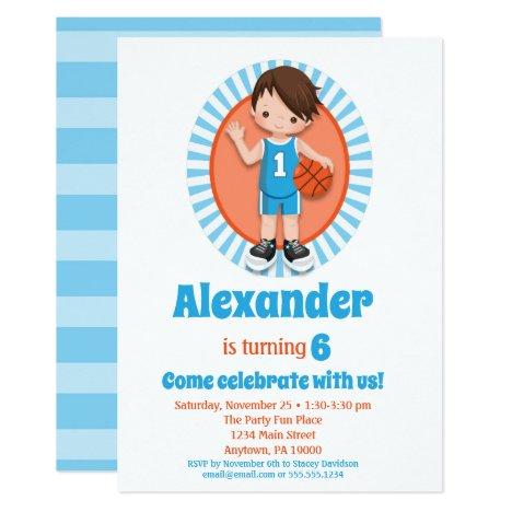 Brown Hair Basketball Boys Birthday Invitation