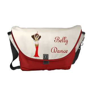 Brown  Hair Bellydancer in Red and Gold Costume Messenger Bag
